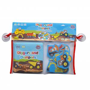 Bath Book & Stickers - Diggers Dumpers